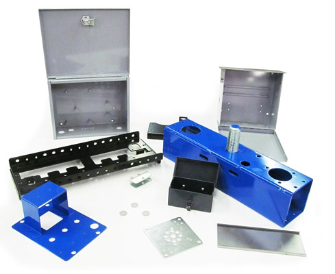 custom prototypes of metal parts including brackets, punched metal plates, boxes and fixtures