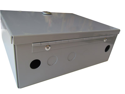 custom sheet metal project in the form of a metal box with hinges and fasteners