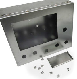 metal box and small parts made of stainless steel. started as flat sheet metal, then punched and formed into a box and assblembled with a hinge.